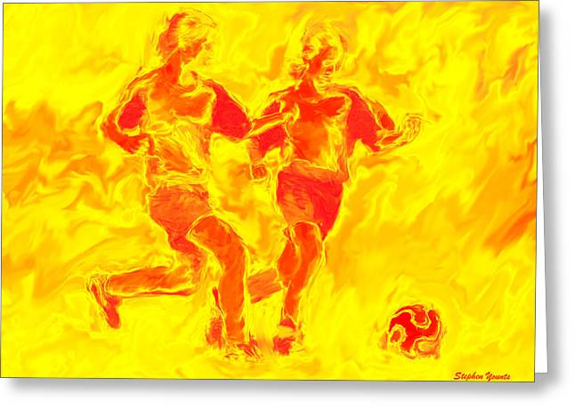 Solar Soccer Greeting Card by Stephen Younts