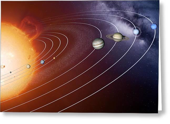 Solar System Orbits, Artwork Greeting Card by Detlev Van Ravenswaay