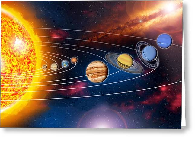 Solar System Planets Greeting Card by Jose Antonio PeÑas