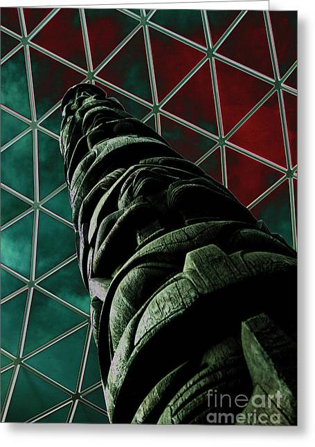 Solarised Totem Pole Greeting Card by Urban Shooters