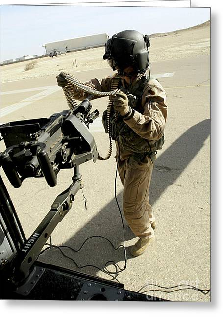 Soldier Carries 7.62 Mm Rounds Greeting Card by Stocktrek Images