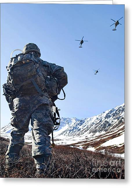 Soldier Patrols Through Alaska's Greeting Card by Stocktrek Images