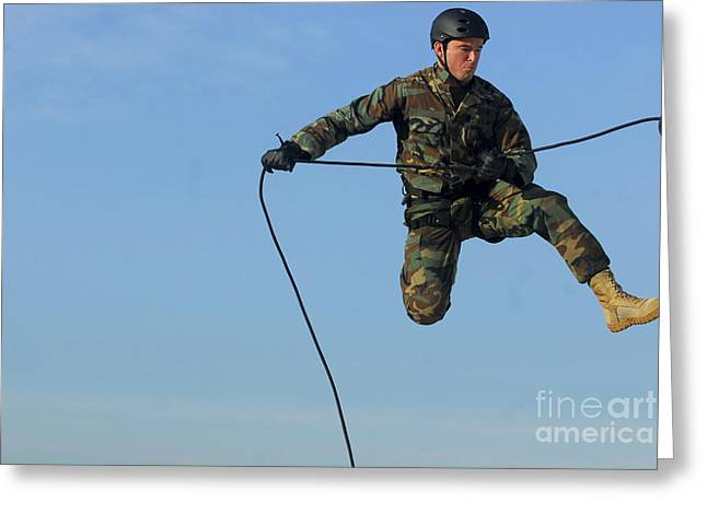 Soldier Rappels Off A Tower While Greeting Card