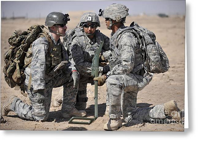 Soldiers Discuss A Strategic Plane Greeting Card by Stocktrek Images
