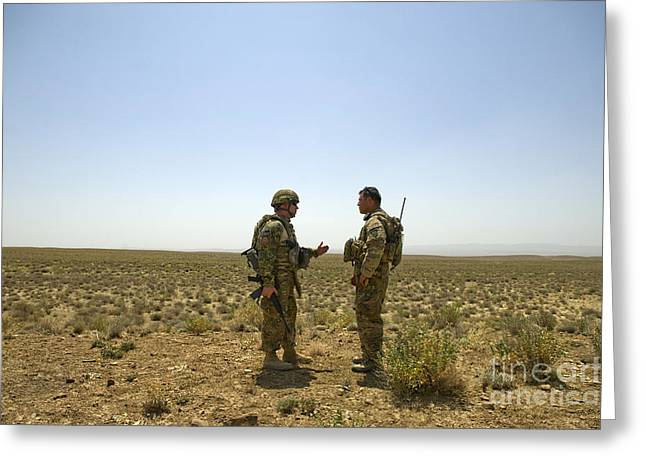 Soldiers Discuss, Drop Zone Greeting Card by Stocktrek Images