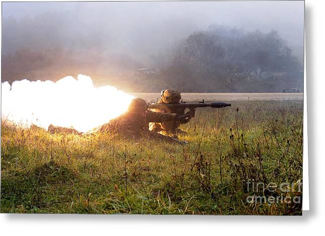 Soldiers Fire A Rocket Propelled Greeting Card by Stocktrek Images