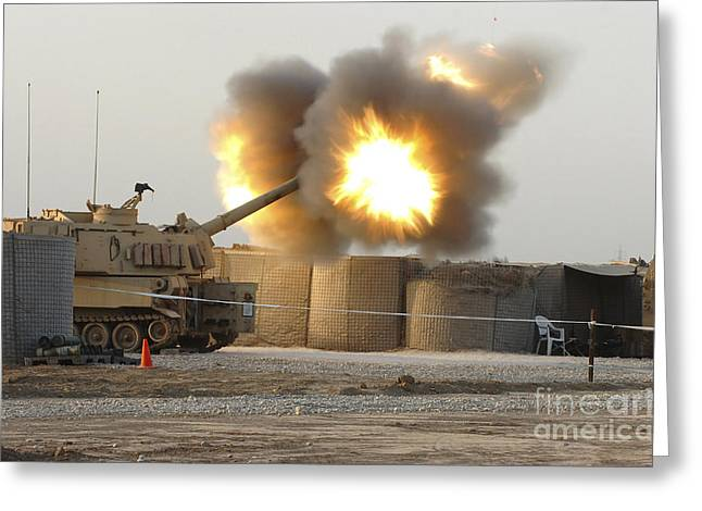 Soldiers Fire The Howitzers Greeting Card by Stocktrek Images