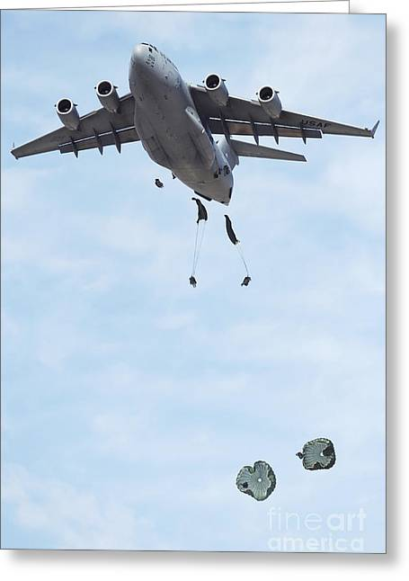 Soldiers Jump From A C-17 Globemaster Greeting Card
