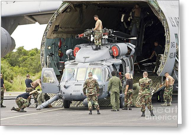 Soldiers Loading Helicopters Onto A C-5 Greeting Card