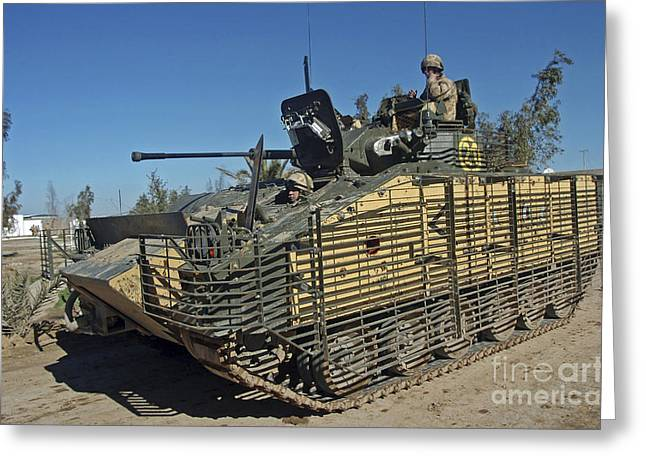 Soldiers Operate The Mcv-80 Warrior Greeting Card