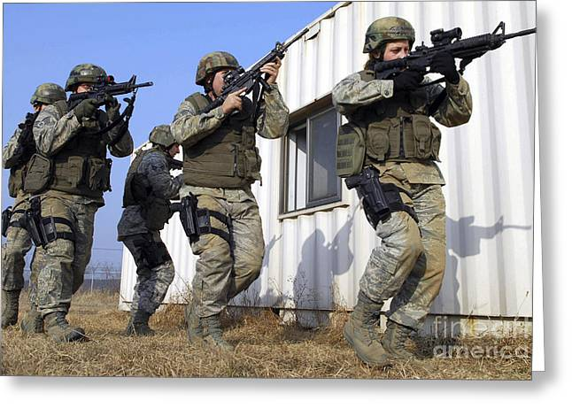 Soldiers Participate In Training Greeting Card by Stocktrek Images
