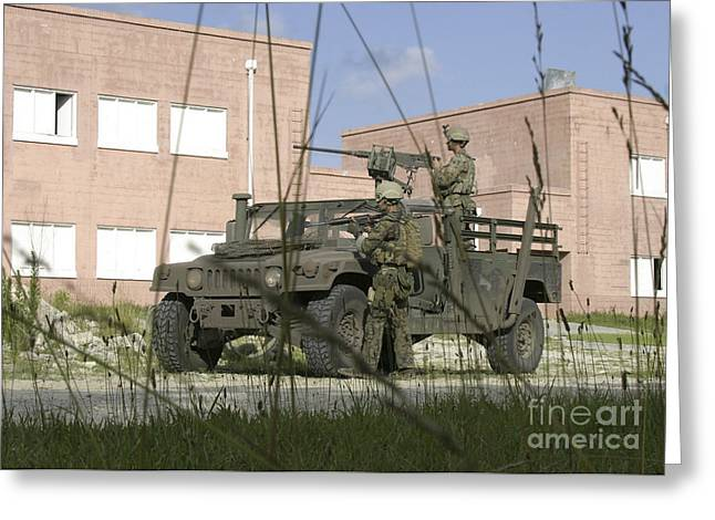Soldiers Provide Perimeter Security Greeting Card by Stocktrek Images