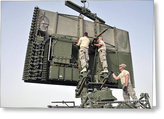 Soldiers Set Up A Tps-75 Radar Greeting Card by Stocktrek Images