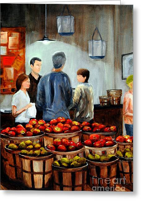 At The Market Greeting Card by Cindy Roesinger
