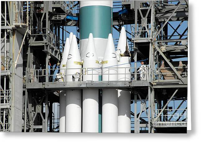 Solid Rocket Boosters Are Attached Greeting Card by Stocktrek Images