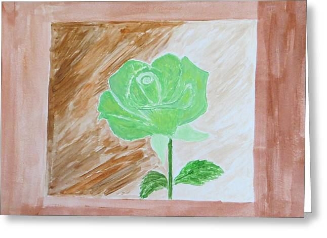 Greeting Card featuring the painting Solitary Rose by Sonali Gangane