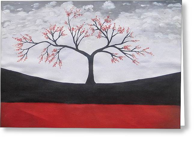 Solitary Tree-oil Painting Greeting Card by Rejeena Niaz