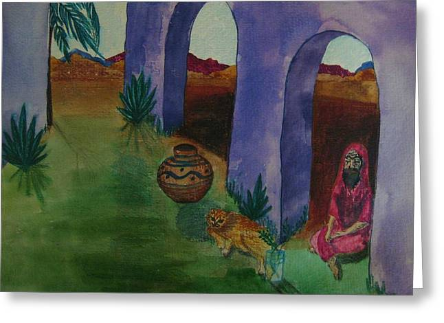 Solitude In The Desert Greeting Card by Judy Via-Wolff