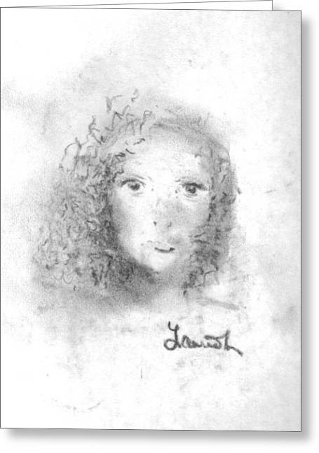 Greeting Card featuring the drawing Something About Mary by Laurie Lundquist
