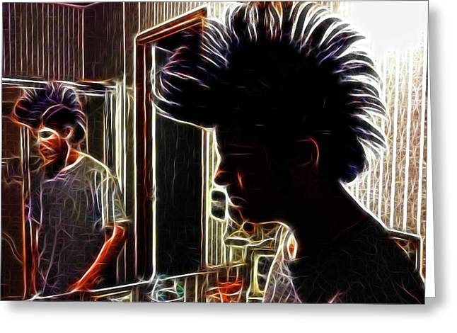 Son With Mohawk Greeting Card by Lisa Stanley