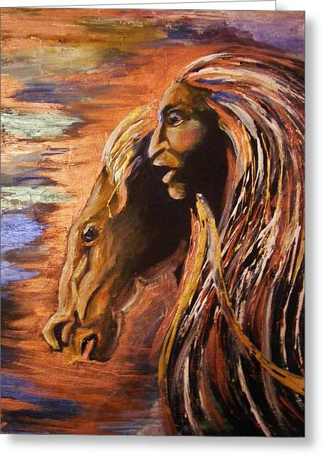 Greeting Card featuring the painting Soul Of Wild Horse by Karen  Ferrand Carroll