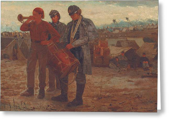 Sounding Reveille Greeting Card by Winslow Homer