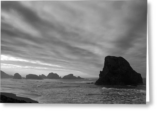 South Oregon Coast Black And White Greeting Card by Twenty Two North Photography