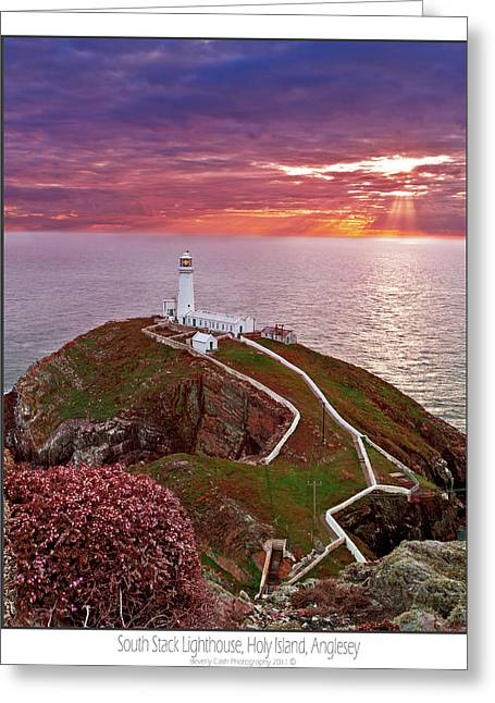 Greeting Card featuring the photograph South Stack Lighthouse by Beverly Cash