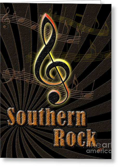 Southern Rock Music Poster Greeting Card by Linda Seacord
