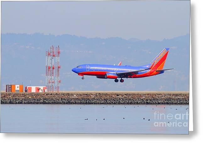 Southwest Airlines Jet Airplane At San Francisco International Airport Sfo . 7d12089 Greeting Card