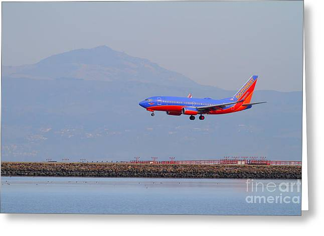 Southwest Airlines Jet Airplane At San Francisco International Airport Sfo . 7d12175 Greeting Card