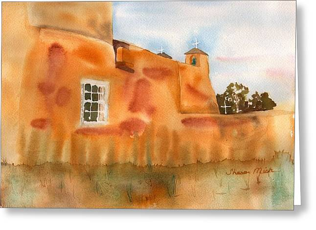 Greeting Card featuring the painting Southwest Walled Monastery by Sharon Mick