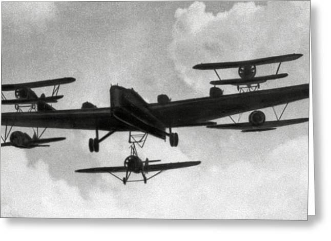 Soviet Bomber With Parasite Fighters 1935 Greeting Card