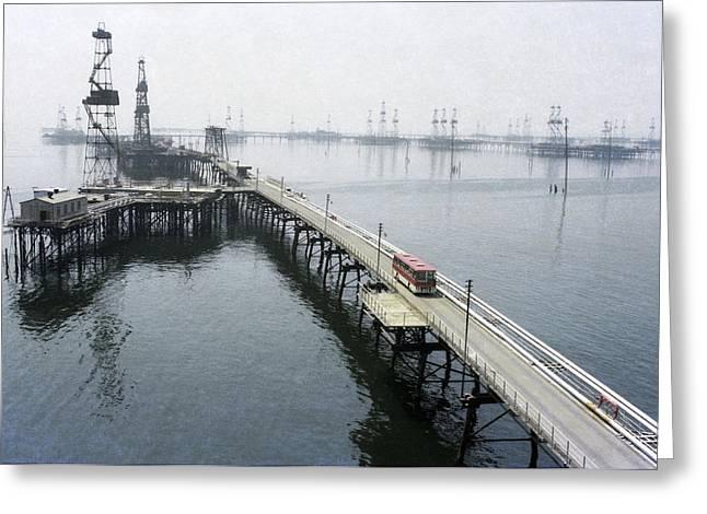Soviet Caspian Sea Oil Fields, 1978 Greeting Card
