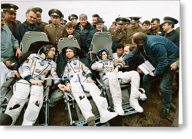 Soyuz Tm-7 Mission Cosmonauts Greeting Card by Ria Novosti