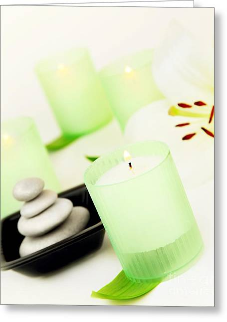 Spa Candle And Stones Greeting Card by Anna Om
