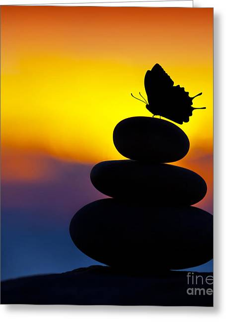 Spa Stones Balance Greeting Card by Anna Om