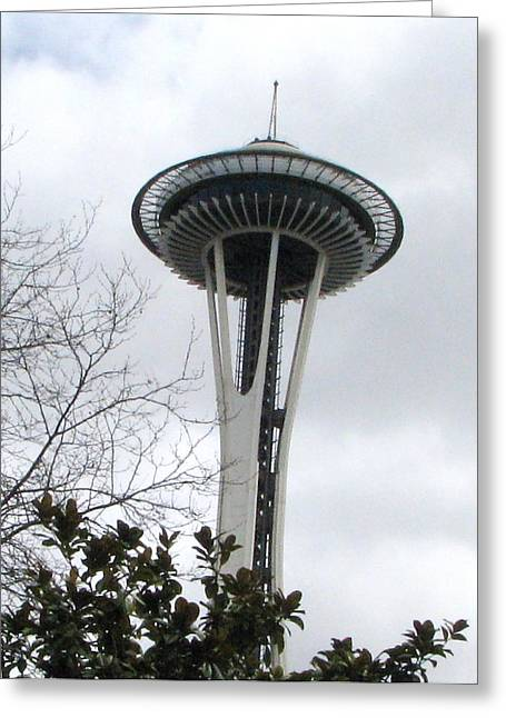 Space Needle In Seattle Greeting Card by Judyann Matthews