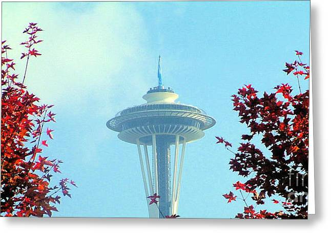 Space Needle In The Fall Greeting Card by Nick Gustafson