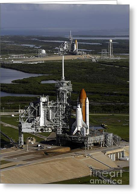 Space Shuttle Atlantis And Endeavour Greeting Card