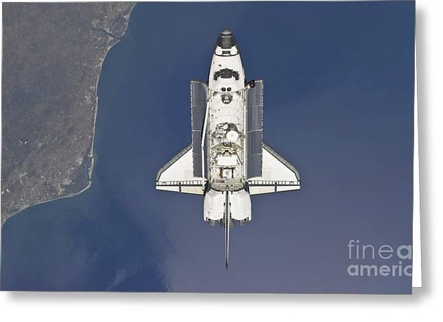Space Shuttle Atlantis Backdropped Greeting Card