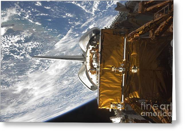 Space Shuttle Atlantis Payload Bay Greeting Card by Stocktrek Images