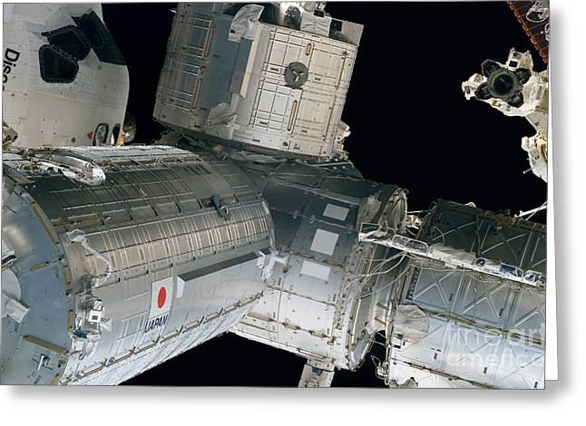 Space Shuttle Discovery And Components Greeting Card