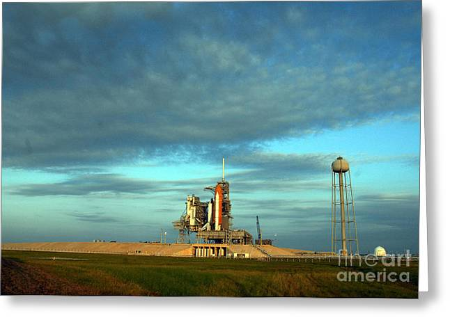 Space Shuttle Endeavor On Launch Pad Greeting Card