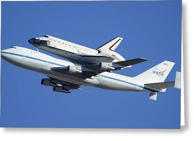 Space Shuttle Endeavour Departing Edwards Afb September 21 2012 Greeting Card by Brian Lockett