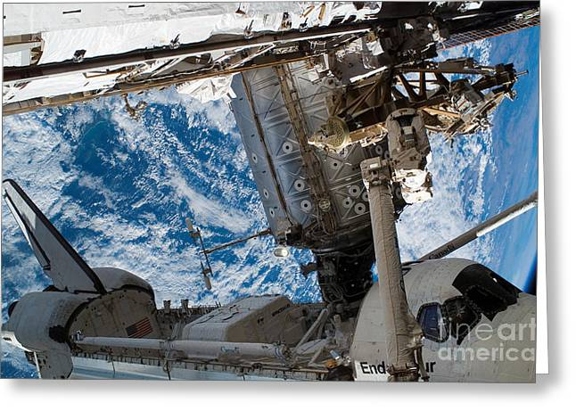 Space Shuttle Endeavour Docked Greeting Card by Stocktrek Images