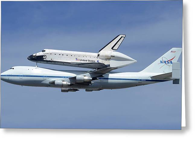 Space Shuttle Endeavour Over Lax Profile September 21 2012 Greeting Card
