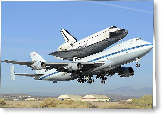 Space Shuttle Endeavour Taking Off From Edwards Afb Front September 21 2012 Greeting Card by Brian Lockett