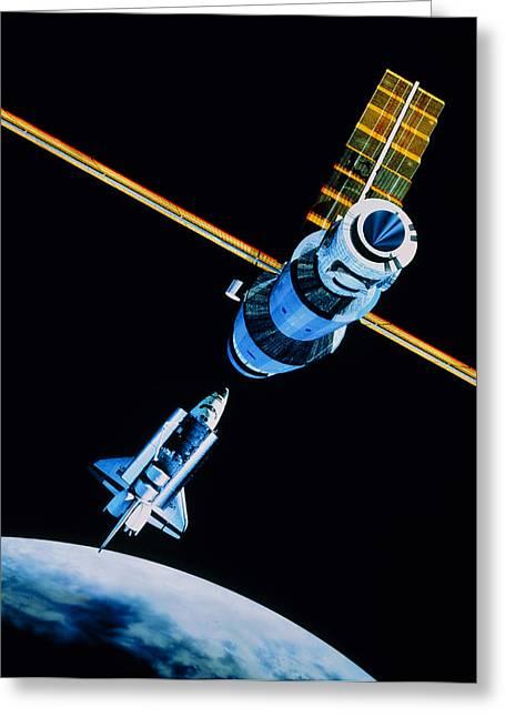 Space Shuttle In Orbit Near Mir Space Station Greeting Card by Julian Baum