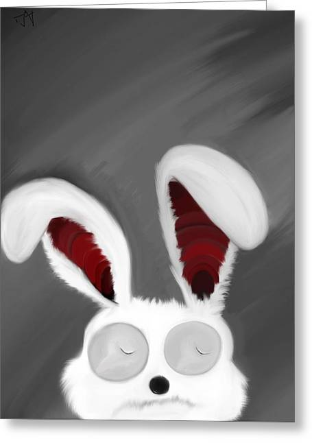 Spaced Bunny Greeting Card by Andre Carrion